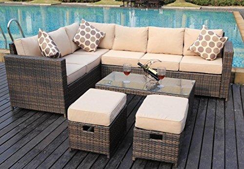 Yakoe Papaver Serie Wintergarten 8 Sitzer Ecksofa Poly Rattan Lounge Set Outdoor Gartenmobel Braun 180 5x70x85 Cm