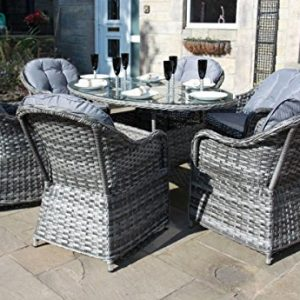gartenm bel set aus rattan 6 sitze langer tisch grau. Black Bedroom Furniture Sets. Home Design Ideas